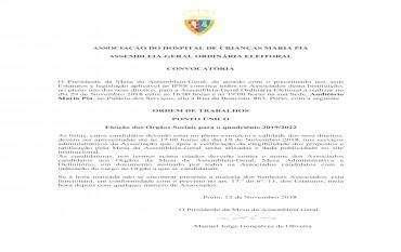 Convocatória Assembleia-Geral Ordinária Eleitoral